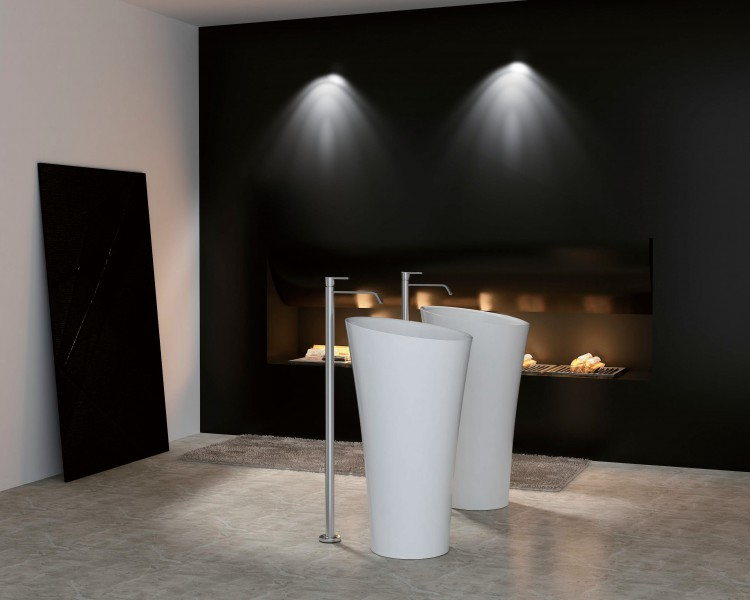 Freestanding wash basin PB2198 - white - Ø50 x 90cm - Solid Stone – Bild 1