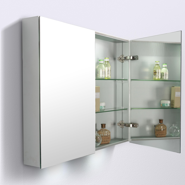 Aluminium-Spiegelschrank G900 2-türig - innen und außen Spiegel - 90 x 70 x 13 cm