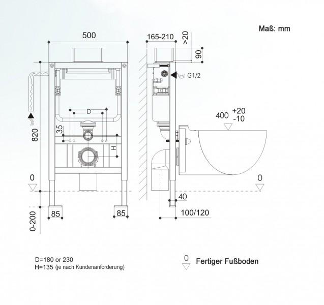 WC-Vorwandelement G3005 inkl. Betätigungsplatte satin – Bild 4