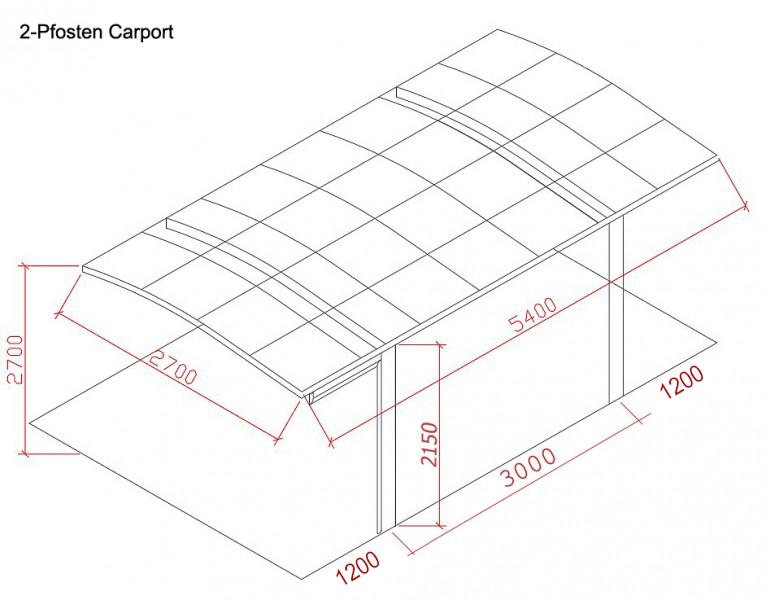 BERNSTEIN Carport Aluminium 5400 x 2700 x 2700 mm, grau – Bild 2