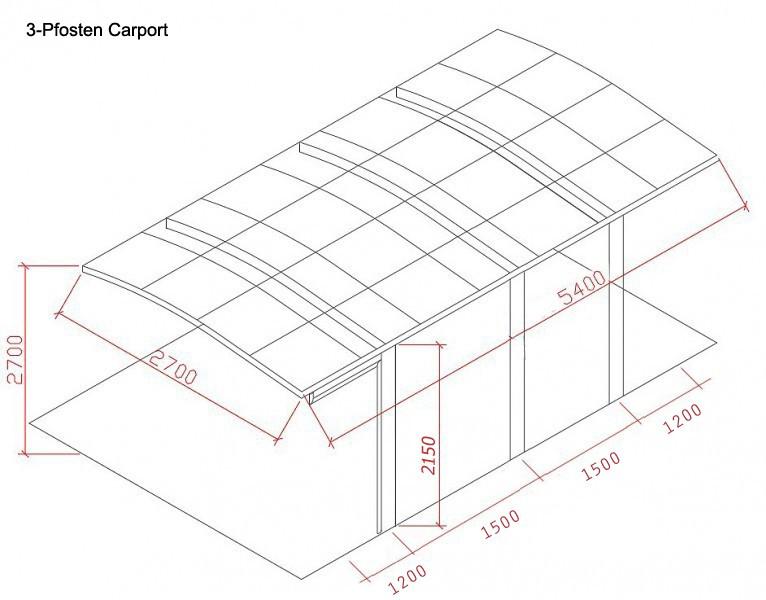 BERNSTEIN Carport Aluminium 5400 x 2700 x 2700 mm, grau, hohe Traglast – Bild 2
