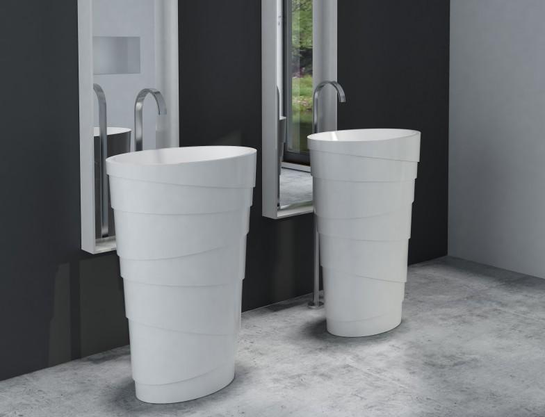 Freistehendes Waschbecken aus Mineralguss PB2192 ATHENE weiß - 60 x 40 x 90 cm - Solid Stone – Bild 1