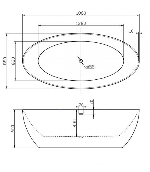 Freestanding bathtub TERRA - Gold Effect sanitary acrylic - 186 x 88cm – Bild 3