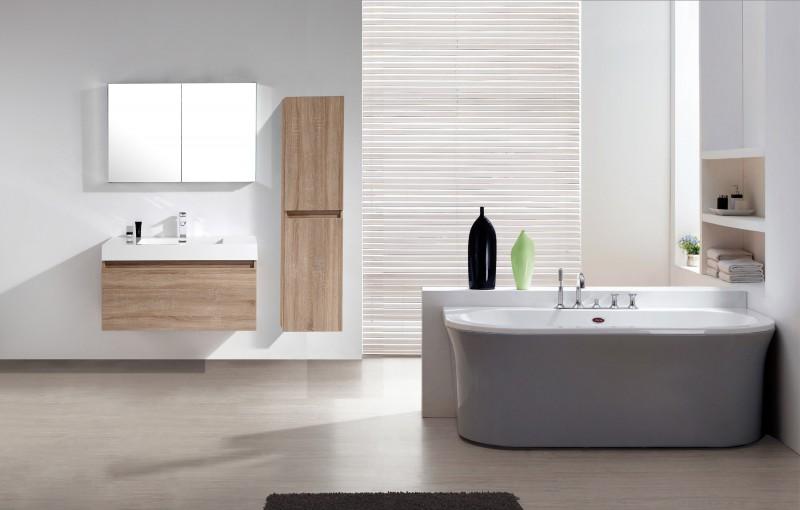 Mobile da bagno a1000 rovere chiaro specchio - Armadietto specchio bagno ...