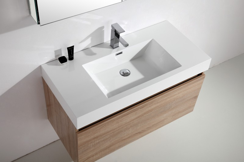 Bathroom furniture set A1000 - bleached oak colour - mirror cabinet and wall-mounted cabinet optional – Bild 3