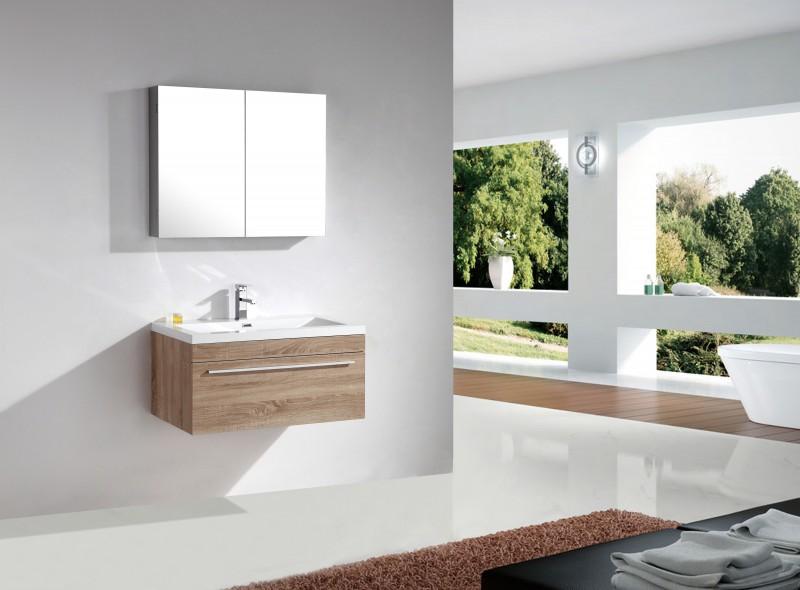 Badmöbel-Set T900 Basic Eiche geweißt - Spiegel und Seitenschrank wählbar