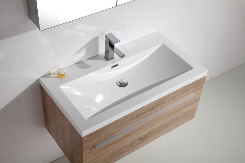 Badmöbel-Set T900 Basic Eiche geweißt - Spiegel und Seitenschrank wählbar – Bild 2