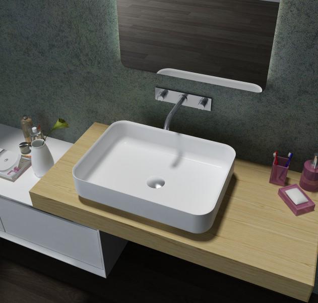 Countertop washbasin PB2121 - matt white - 55 x 40 x 13cm - pure acrylic – Bild 1
