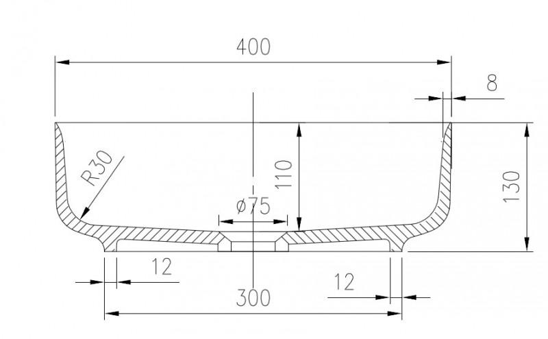 Mineralguss Aufsatzbecken Waschbecken Quadrat PB2120 - 40x40x13cm - Pure Acrylic – Bild 4