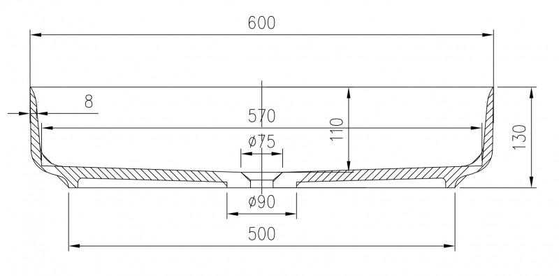 Lavabo / vasque en fonte minérale, ovale à poser PB2123 - 60x40x13 cm – Bild 3