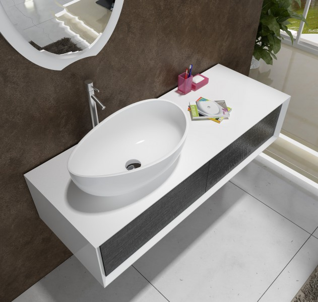 Countertop wash basin WAVE PB2001 - 60x37x21cm - Pure Acrylic -White matte or glossy – Bild 2