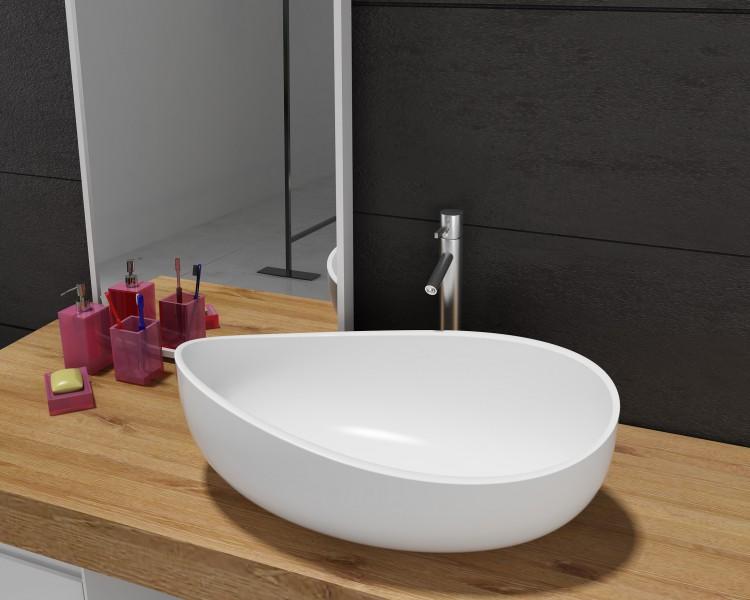 Countertop wash basin WAVE PB2001 - 60x37x21cm - Pure Acrylic -White matte or glossy – Bild 1