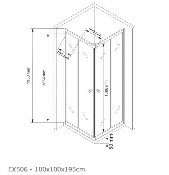 Duschkabine Eckdusche Schiebetüren 6mm NANO Echtglas EX506 - 100x100x195cm – Bild 5