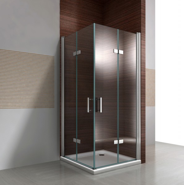 Bi-fold corner shower enclosure with NANO coating - transparent glass - DX213 - available in different sizes – Bild 1