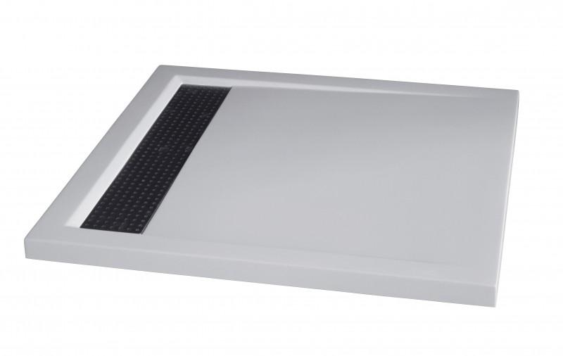 mineralguss duschtasse quadratisch 9090bw edelstahl wei gl nzend 90x90x4 5cm badewelt. Black Bedroom Furniture Sets. Home Design Ideas