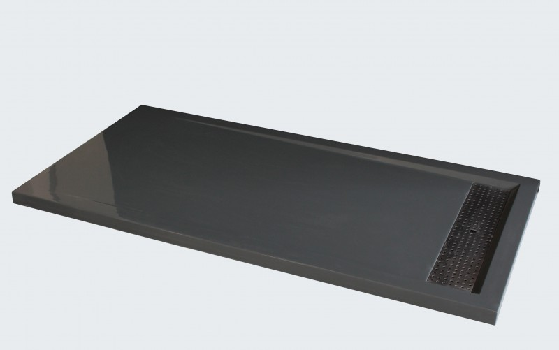 Shower tray made from cast mineral (solid stone) 1480BG - 140 x 80 x 4,5 cm - grey glossy – Bild 1