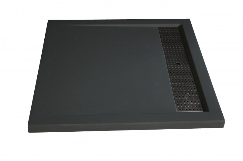 Shower tray made from cast mineral (solid stone) 9090BG - 90 x 90 x 4,5 cm - grey glossy – Bild 1