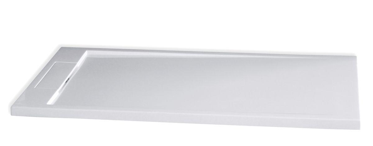 Receveur de douche en pierre solide (solid stone) M2480CW blanc brillant  140x80x3,5cm   – Bild 1