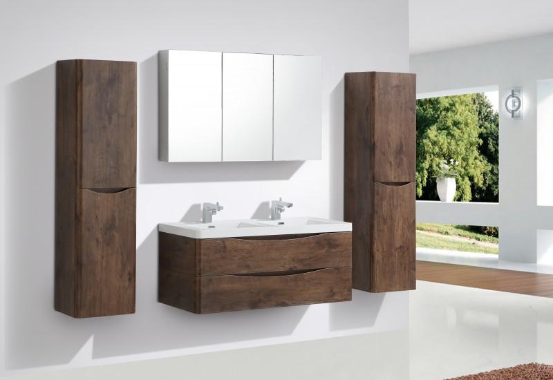 Mobile da bagno smile 1200 palissandro specchio e colonna