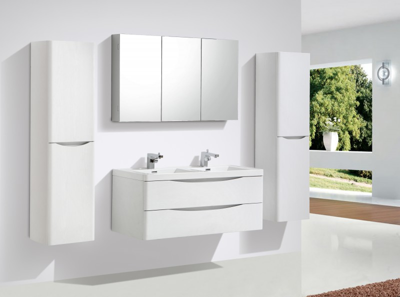 Mobile da bagno smile 1200 giglio bianco specchio e colonna