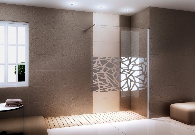 Walk-in shower enclosure EX101 - mirror middle central band - 10 mm NANO genuine glass - width selectable