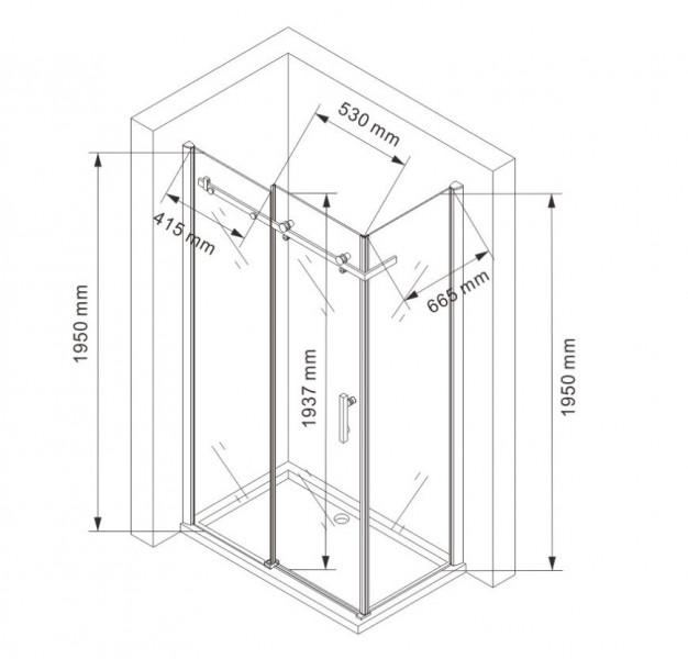 Duschkabine NANO 8mm Echtglas EX802 Schiebetür - 80 x 100 x 195cm – Bild 8