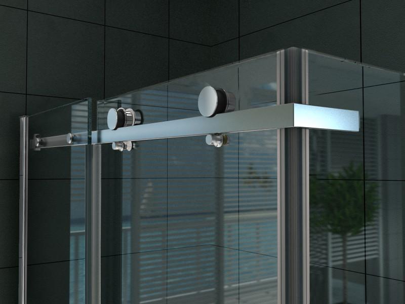 Paroi de douche fixe et porte coulissante verre véritable Nano 8mm EX802- 90 x 100 x 195cm    – Bild 5