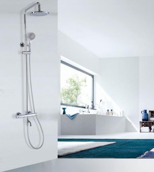 Colonne de douche ou bain thermostatique 4041 BASIC-douchette et bec de bain avec ou sans pomme de douche (rond)