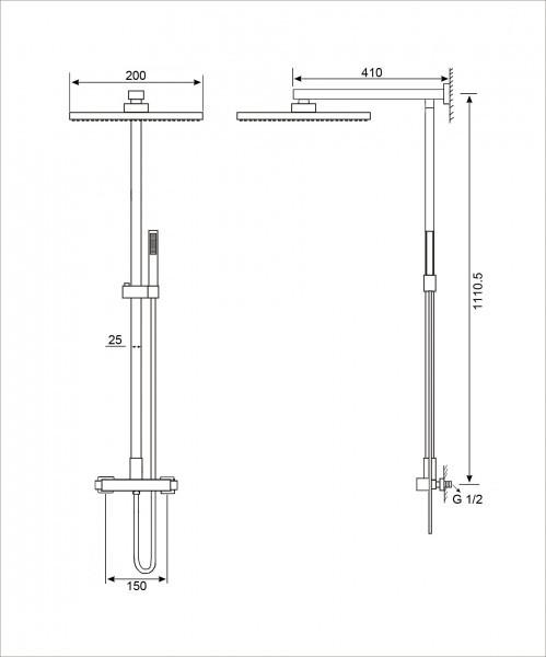 Design shower column 8921C - thermostatic shower panel - square shower head optional – Bild 2