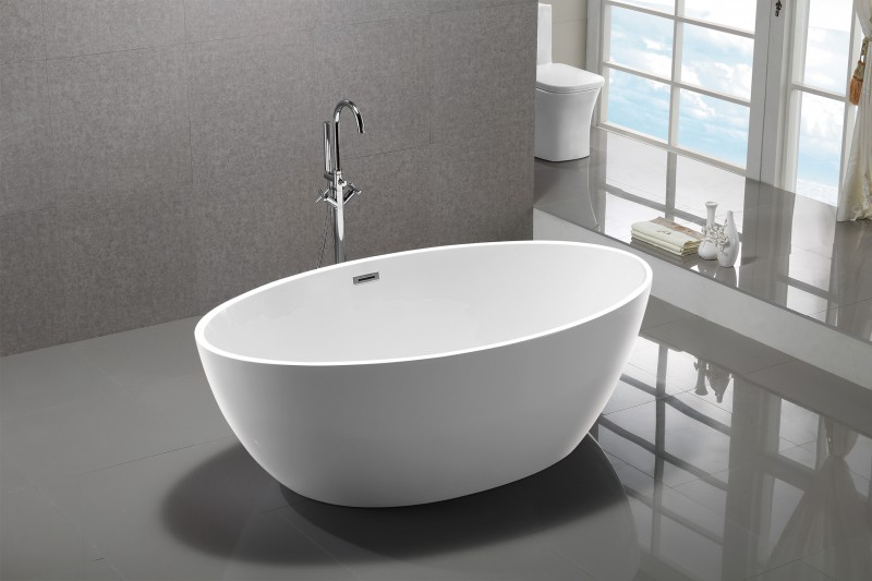 Freestanding Bathtub DESTINO white - made of sanitary acrylic - 175 x 100 cm - with or without taps – Bild 3