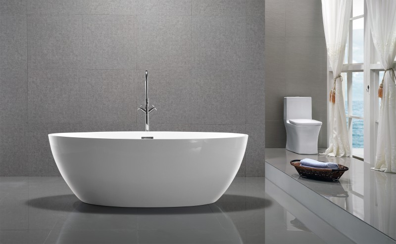 Freestanding Bathtub DESTINO white - made of sanitary acrylic - 175 x 100 cm - with or without taps – Bild 4