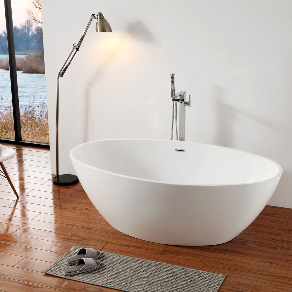 Freestanding Bathtub DESTINO white - made of sanitary acrylic - 175 x 100 cm - with or without taps – Bild 1