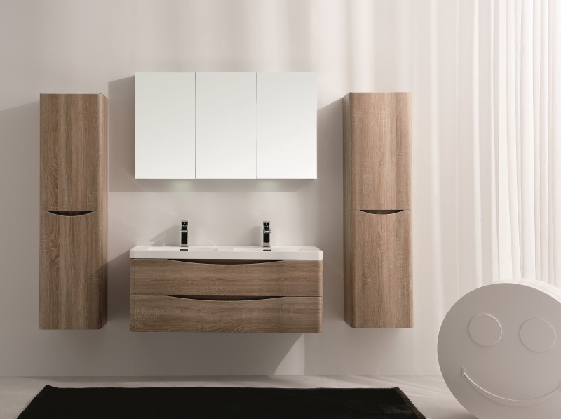 Wall hung bathroom furniture set Smile 1200 - bleached oak - mirror, mirror cabinet and wall cabinet optional – Bild 2