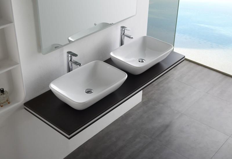 Aufsatzbecken Aufsatz-Waschbecken NT3155 - Badkeramik - 58x38,5cm – Bild 2
