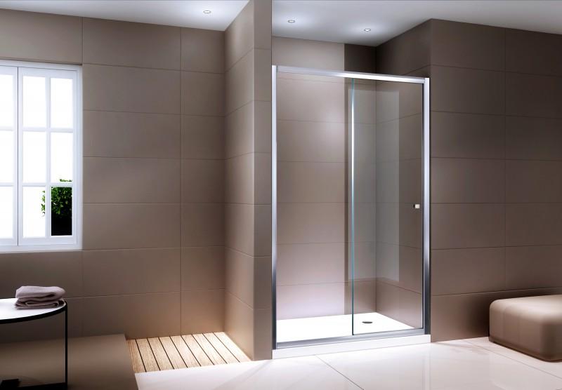 Duschabtrennung Schiebetür NANO Echtglas EX505 - Klarglas - Höhe 195cm - Breite wählbar
