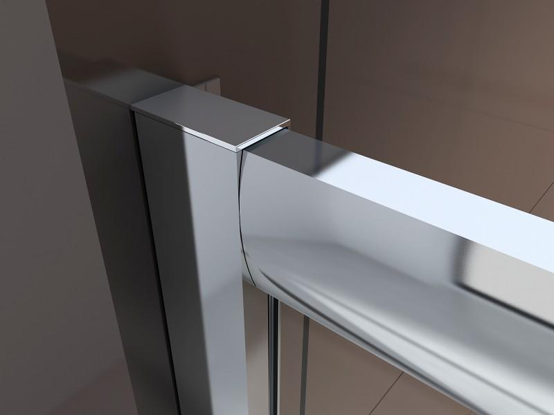 Duschabtrennung Schiebetür NANO Echtglas EX505 - Klarglas - Höhe 195cm - Breite wählbar – Bild 2