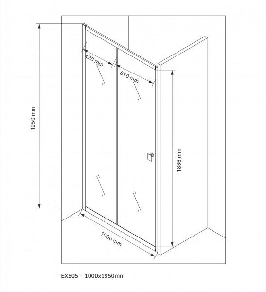 Duschabtrennung Schiebetür NANO Echtglas EX505 - Milchglas-Streifen - Breite wählbar – Bild 6