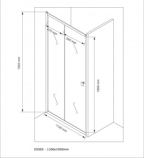 Duschabtrennung Schiebetür NANO Echtglas EX505 - Milchglas-Streifen - Breite wählbar – Bild 7