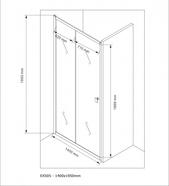 Shower screen for recess genuine NANO glass EX505 - frosted detail - height - 195  cm - available in different widths – Bild 9