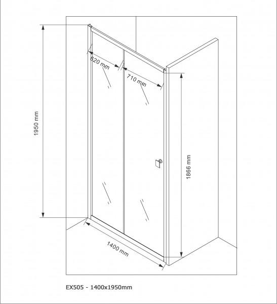 Duschabtrennung Schiebetür NANO Echtglas EX505 - Milchglas-Streifen - Breite wählbar – Bild 9
