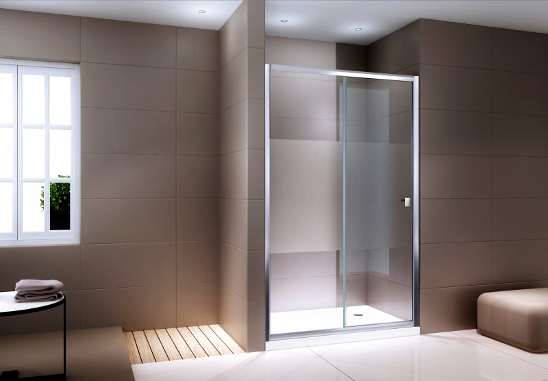Shower screen for recess genuine NANO glass EX505 - frosted detail - height - 195  cm - available in different widths – Bild 1