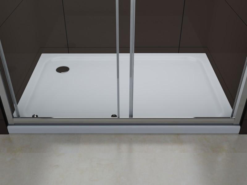Duschabtrennung Schiebetür NANO Echtglas EX505 - Milchglas-Streifen - Breite wählbar – Bild 4