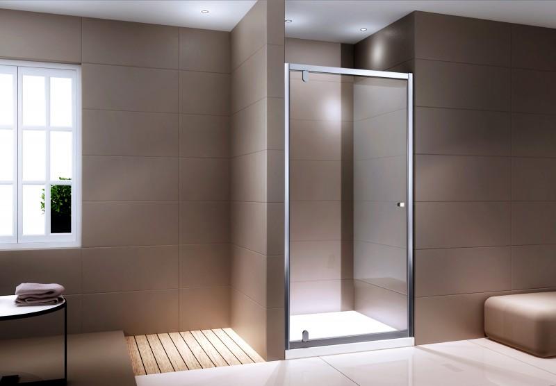 Duschabtrennung Nischentür NANO Echtglas EX306 - Klarglas - Höhe 195cm - Breite wählbar – Bild 1