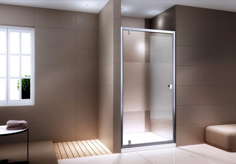 Duschabtrennung Nischentür NANO Echtglas EX306 - Milchglas-Streifen - Breite wählbar – Bild 1