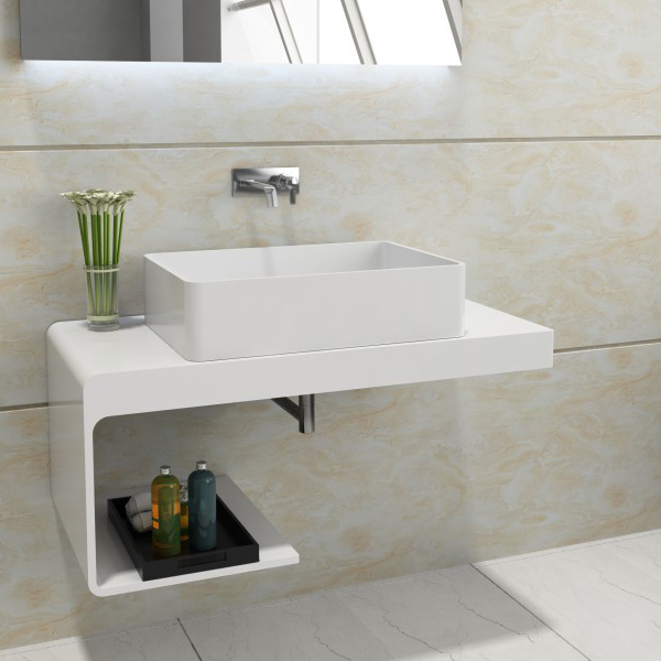 Wall mounted wash basin shelf NT01 - 100x48x42cm - solid stone 	 BERNSTEIN Wall mounted shelf NT01, 100 x 48 x 42 cm - stone resin – Bild 1