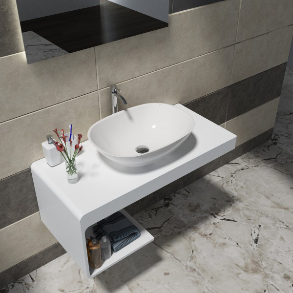 Wall mounted wash basin shelf NT01 - 100x48x42cm - solid stone 	 BERNSTEIN Wall mounted shelf NT01, 100 x 48 x 42 cm - stone resin – Bild 3