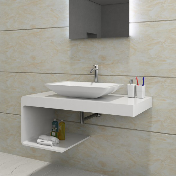 Wall mounted wash basin shelf NT01 - 100x48x42cm - solid stone 	 BERNSTEIN Wall mounted shelf NT01, 100 x 48 x 42 cm - stone resin – Bild 4