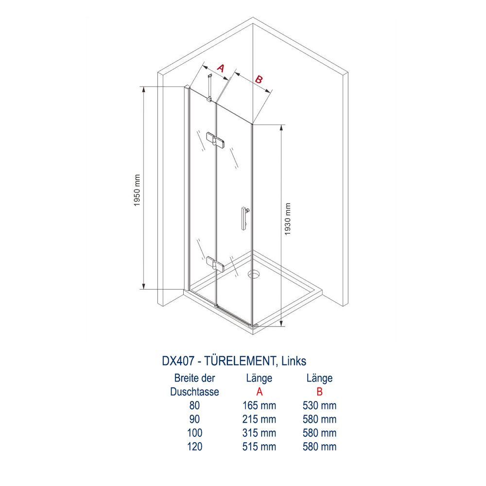 Shower cabin corner from 8mm thick tempered safety glass NANO transparent DX407 - width selectable  – Bild 3