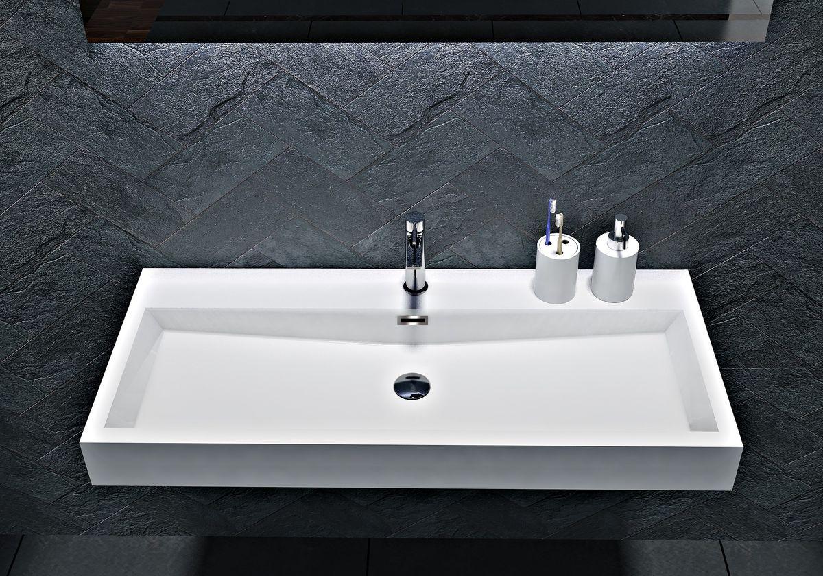 Wandwaschbecken Aufsatzwaschbecken BS6002 - Breite 76,5cm / 100cm – Bild 1