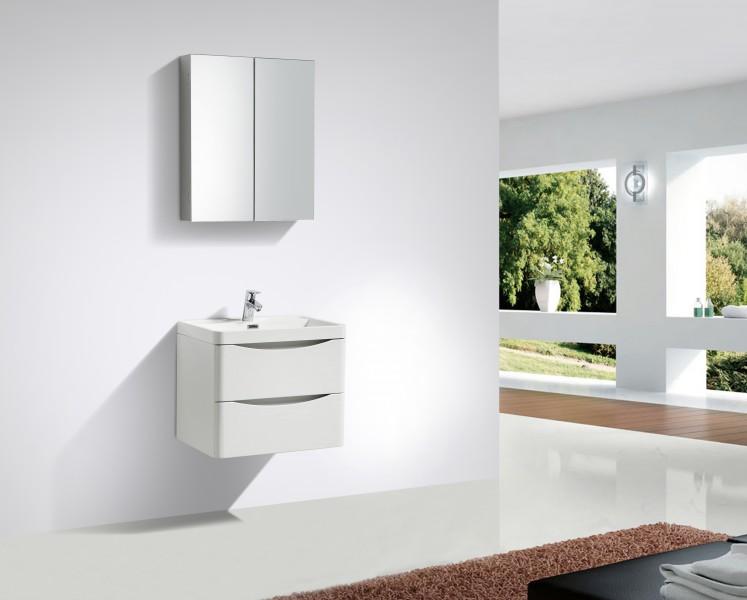 Badkamermeubelset SMILE 600 - witte lelie - spiegel, spiegel en wandkast optioneel